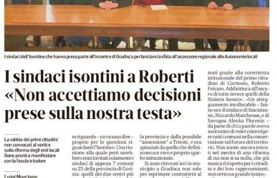 I sindaci isontini a Roberti «Non accettiamo decisioni prese sulla nostra testa»