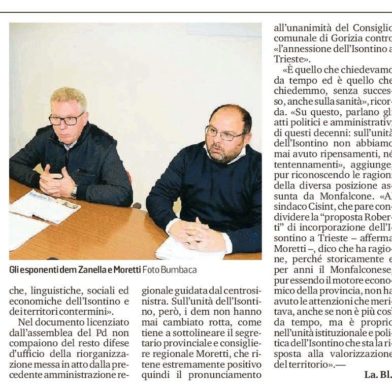 Il Pd mette le mani avanti: «L'Isontino non si tocca Trieste non ci annetterà»