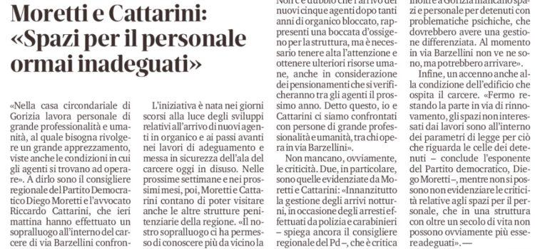 Visita in carcere Moretti – Cattarini – È necessario un aumento strutturale del personale