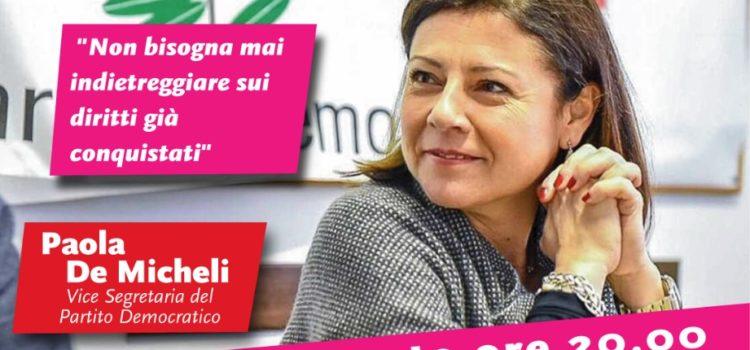 Venerdì 2 agosto la vice presidente del PD, Paola De Micheli, sarà a Dobbia